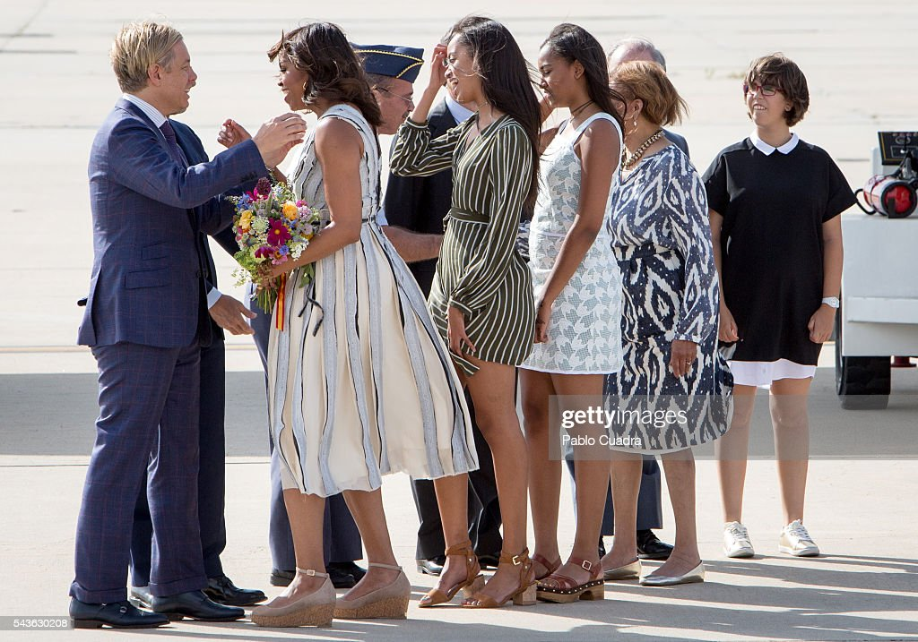 Michelle Obama Arrives in Spain : News Photo