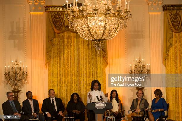 First Lady Michelle Obama hosts a workshop at the White House for high school students from DC New York and Boston about careers in film on Friday...