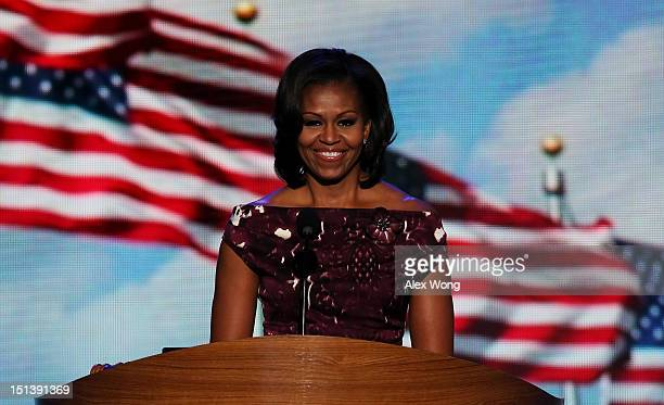 First lady Michelle Obama introduces Democratic presidential candidate US President Barack Obama during the final day of the Democratic National...