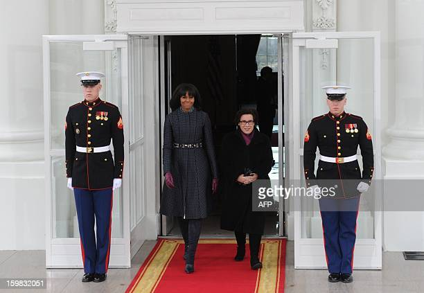 US First Lady Michelle Obama is joined by Iris Weinshall wife of US Democratic Senator from New York Charles Schumer the chairman of the Joint...