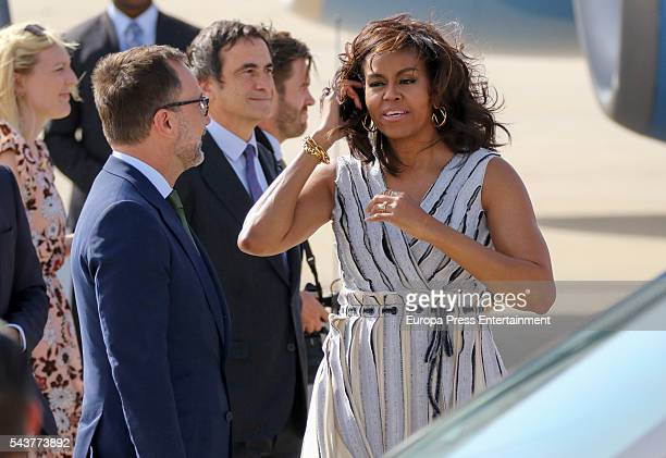 First Lady Michelle Obama is received at Torrejon Air Force Base by US ambassador James Costos on June 29, 2016 in Madrid, Spain. The First Lady will...
