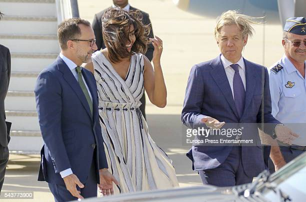 First Lady Michelle Obama is received at Torrejon Air Force Base by US ambassador James Costos and Michael Smith on June 29, 2016 in Madrid, Spain....