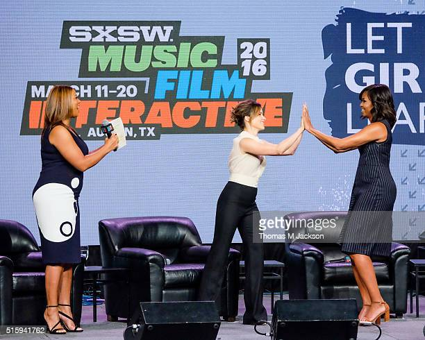 First Lady Michelle Obama is welcomed onstage by Queen Latifah and Sophia Bush as part of the SXSW Let Girls Learn Panel on March 16, 2016 in Austin,...