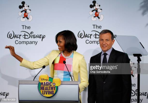 S first lady Michelle Obama joins The Walt Disney Company Chairman and CEO Robert Iger during an event introducing Disney's new Magic of Healthy...