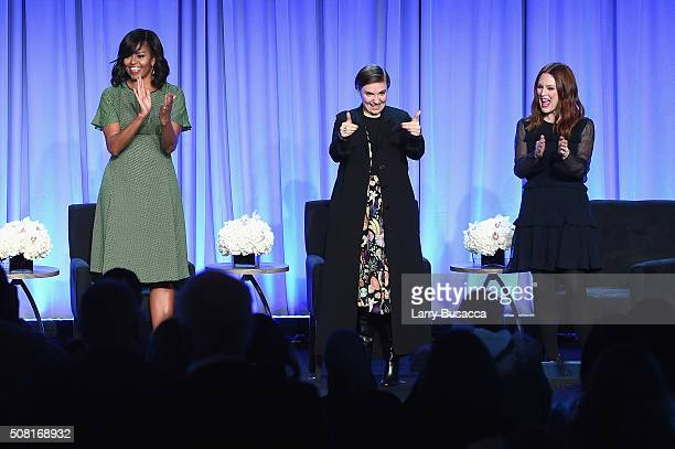 First Lady Michelle Obama Lena Dunham and Julianne Moore speak onstage at the American Magazine Media Conference at Grand Hyatt New York on February...