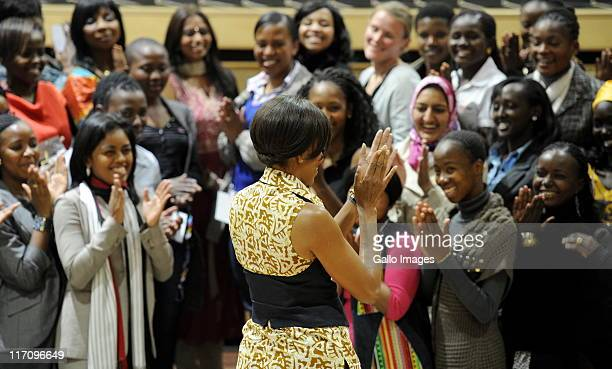 US First Lady Michelle Obama meets 77 women of the African Women Leaders Forum at the Apartheid Museum on June 21 2011 in Johannesburg South Africa...