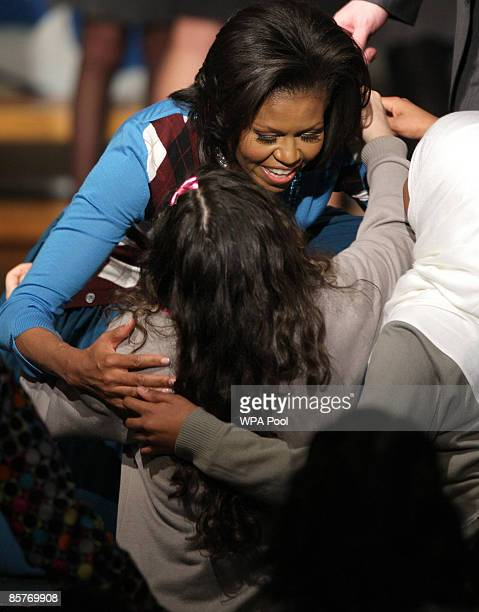 First Lady Michelle Obama meets students during a visit to the Elizabeth Garrett Anderson Secondary School on April 2, 2009 in Borough of Islington...