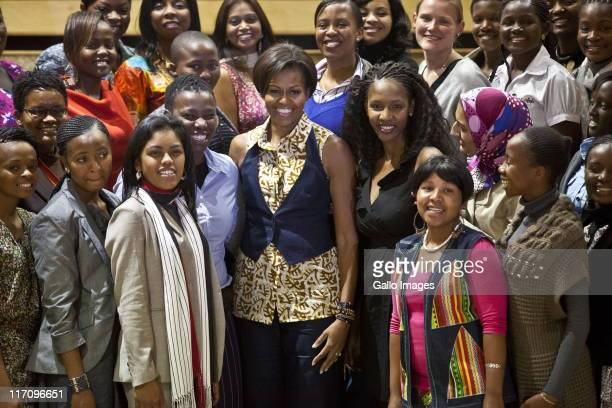 US First Lady Michelle Obama meets with 77 members of the African Women Leaders Forum at the Apartheid Museum on June 21 2011 in Johannesburg South...