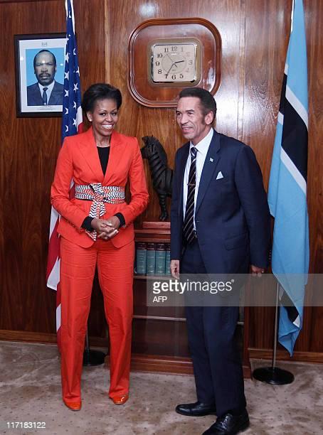 US first lady Michelle Obama meets with Botswana's President Lt Gen Seretse Khama Ian Khama in Gaborone Botswana on June 24 2011 AFP...