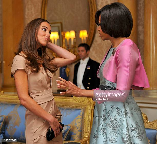 First Lady Michelle Obama meets with Catherine Duchess of Cambridge at Buckingham Palace on May 24 2011 in London England The 44th President of the...