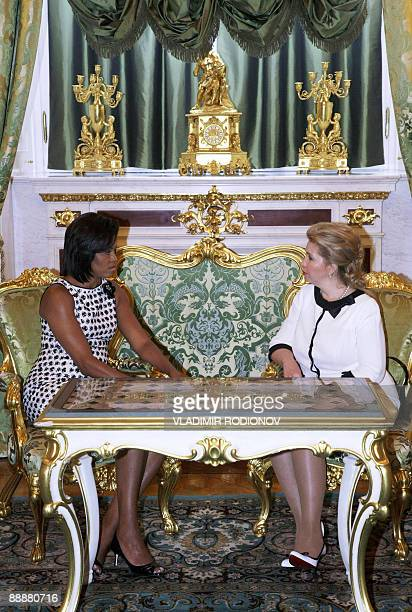 US First Lady Michelle Obama meets with Russian First Lady Svetlana Medvedeva at the Kremlin in Moscow on July 7 2009 US President Barack Obama said...