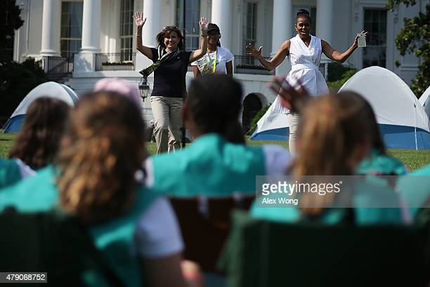 S first lady Michelle Obama National President of Girl Scouts of the USA Kathy Hannan and Aniyah King of the Girl Scouts of Virginia Skyline arrive...