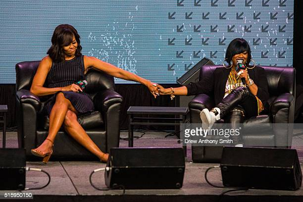 First lady Michelle Obama participates in a discussion with Missy Elliott during SXSW on March 16 2016 in Austin Texas Mrs Obama was the keynote...
