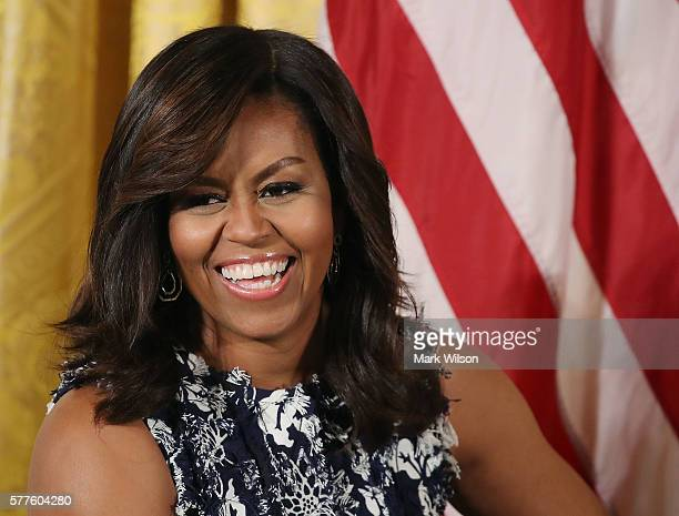 First lady Michelle Obama participates in an event with future college students in the East Room at the White House July 19 2016 in Washington DC The...