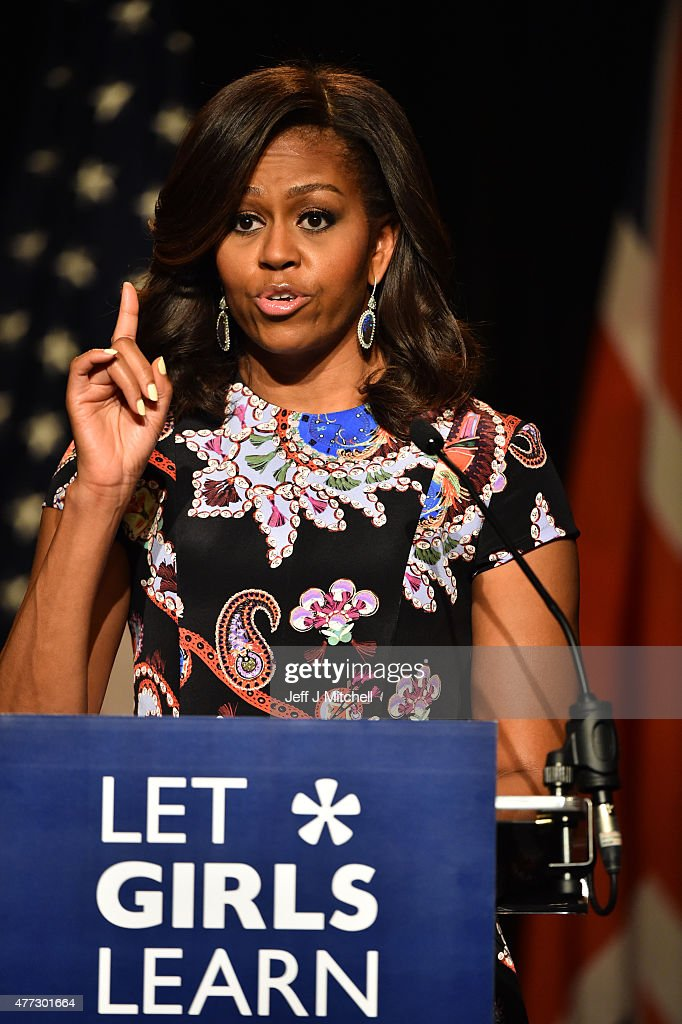 US First Lady Michelle Obama points her finger as she speaks to students as part of the 'Let Girls Learn Initiative' at the Mulberry School for Girls on June 16, 2015 in London, England. The US First Lady is travelling with her daughters, Malia and Sasha and her mother, Mrs. Marian Robinson, to continue a global tour promoting her 'Let Girls Learn Initiative'. The event at the school was to discuss how the UK and USA are working together to expand girl's education around the world.