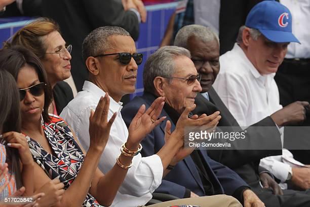 US first lady Michelle Obama President Barack Obama Cuban President Raul Castro President of the Cuban National Assembly Esteban Lazo Hernandez and...