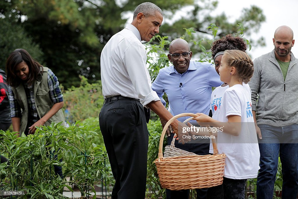 U.S. first lady Michelle Obama, President Barack Obama, NBC Today show host Al Roker and NBC News senior food analyst Sam Kass work with students to harvest the White House Kitchen Garden on the South Lawn of the White House October 6, 2016 in Washington, DC. Students from across the country were invited to help pull vegetables and greens from the garden which was established by first lady MIchelle Obama in the spring of 2009. The garden is now a permanent feature on the White House grounds.