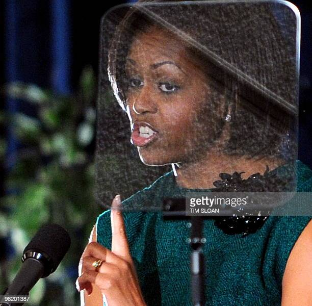 First Lady Michelle Obama previews the FY 2011 budget for military families in remarks to the Joint Armed Forces Officers� Wives� Luncheon on January...
