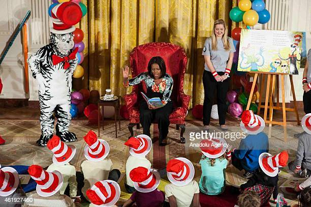 First Lady Michelle Obama reads Dr Seusss 'Oh The Things You Can Do That Are Good for You' to local students as part of her 'Let's Move Let's Read'...