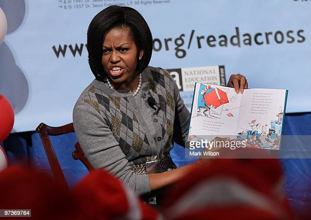 First lady Michelle Obama reads Dr. Suess�s The Cat In The Hat, during an event at the Library of Congress on March 2, 2010 in Washington, DC. Over...