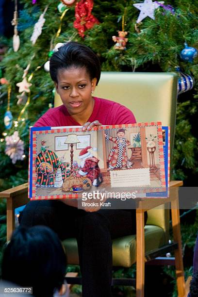 First Lady Michelle Obama reads to patients at Children's Hospital in Washington.