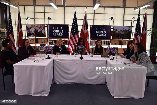 First Lady Michelle Obama sits between Fiona Mavhinga of CAMA Dr Pauline Rose of Cambridge University The UK Department of International...