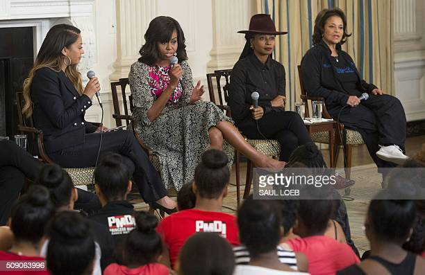US First Lady Michelle Obama speaks alongside television personality La La Anthony HipHop choreographer Fatima Robinson and Debbie Allen...