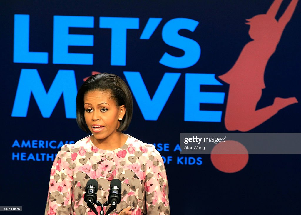 U.S. first lady Michelle Obama speaks as she makes an announcement at the South Court Auditorium of the Eisenhower Executive Office Building May 17, 2010 in Washington, DC. The first lady was joined by the Healthy Weight Commitment Foundation and the Partnership for a Healthier America to announce their commitment to the Let's Move! childhood obesity campaign.