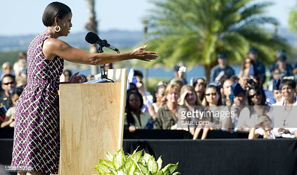 First Lady Michelle Obama speaks at a hiring fair sponsored by the US Chamber of Commerce for active and retired members of the US military and their...