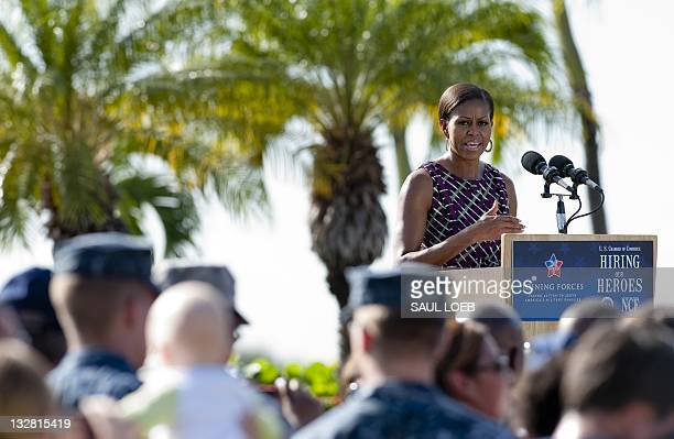 US First Lady Michelle Obama speaks at a hiring fair sponsored by the US Chamber of Commerce for active and retired members of the US military and...
