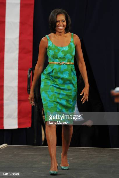 First Lady Michelle Obama speaks at Barbara Goleman Senior High School during a campaign event on July 10 2012 in Miami Lakes Florida