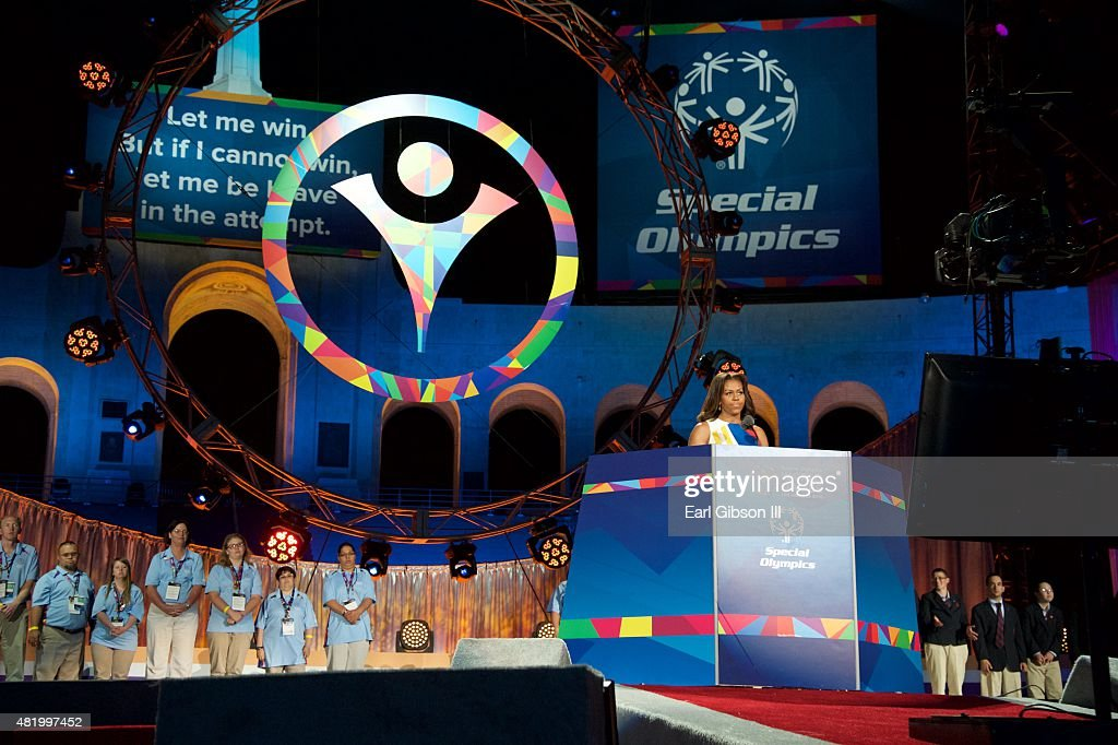 First Lady Michelle Obama speaks at the opening ceremony of the Special Olympics World Games Los Angeles 2015 at Los Angeles Memorial Coliseum on July 25, 2015 in Los Angeles, California.