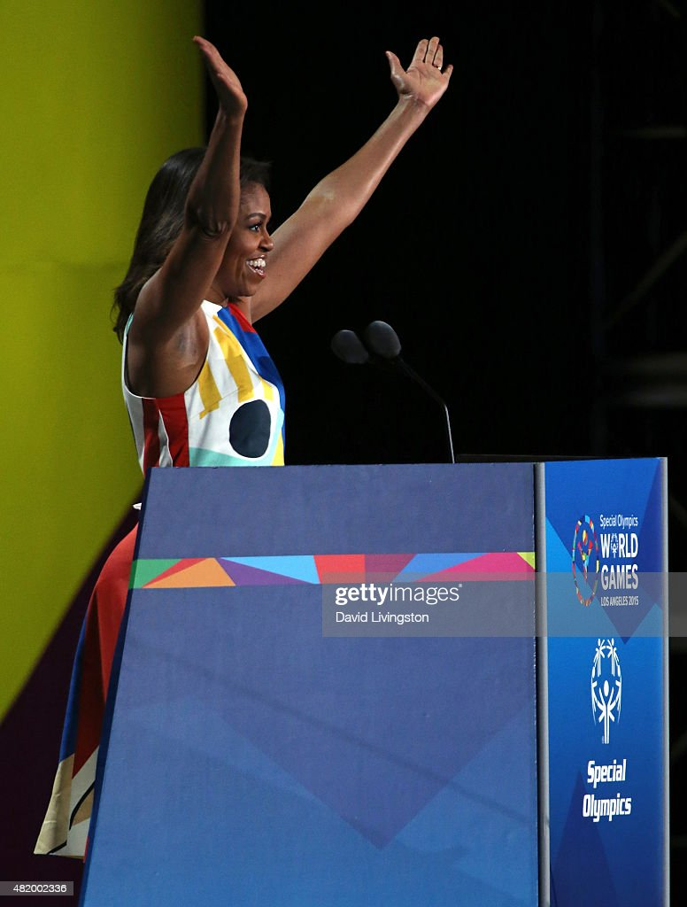First Lady Michelle Obama speaks at the opening ceremony of the Special Olympics World Games Los Angeles 2015 at the Los Angeles Memorial Coliseum on July 25, 2015 in Los Angeles, California.