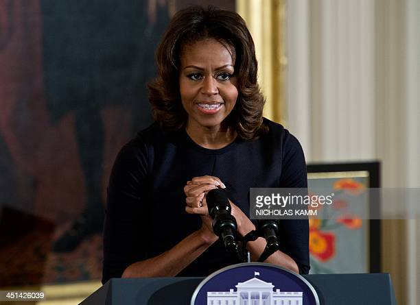 First Lady Michelle Obama speaks at the Presidents Committee on the Arts and the Humanities National Arts and Humanities Youth Program Awards at the...