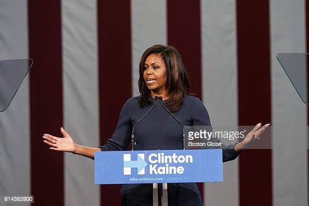 First Lady Michelle Obama speaks during a campaign rally in support of US Democratic Presidential nominee Hillary Clinton at Southern New Hampshire...
