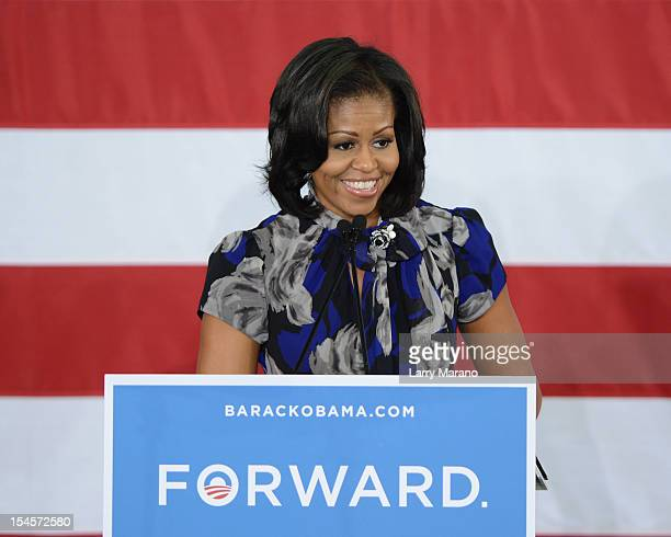First Lady Michelle Obama speaks during a Grassroots campaign event at Broward College on October 22 2012 in Davie Florida