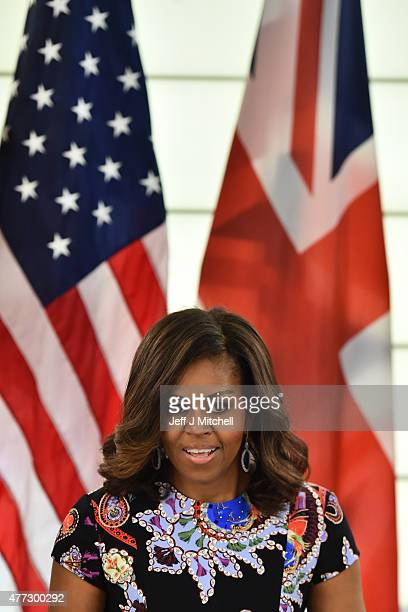 First Lady Michelle Obama speaks during a 'Let Girls Learn' meeting as part of the 'Let Girls Learn Initiative' at the Mulberry School for Girls on...