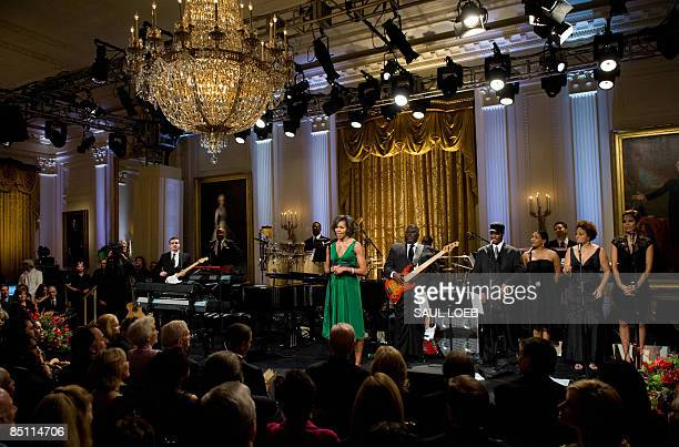First Lady Michelle Obama speaks during a taping of the �Stevie Wonder In Performance at the White House: The Library of Congress Gershwin Prize�...
