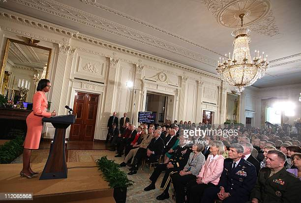 First lady Michelle Obama speaks during an event to launch Joining Forces, a national initiative to support and honor American's service members and...