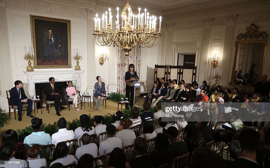 First lady Michelle Obama speaks during an interactive student workshop with the cast and crew of the film Beasts of the Southern Wild at the State Dining Room of the White House February 13, 2013 in Washington, DC. The first lady hosted middle and high school students from the DC area and New Orleans to participate in the event.