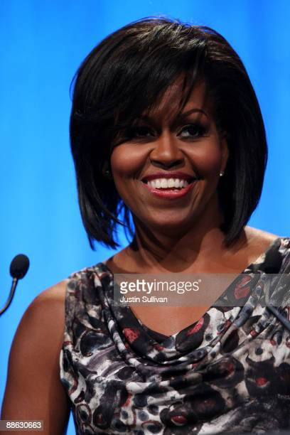 First Lady Michelle Obama speaks during the National Conference for Service and Volunteering June 22, 2009 at the Moscone Center in San Francisco,...
