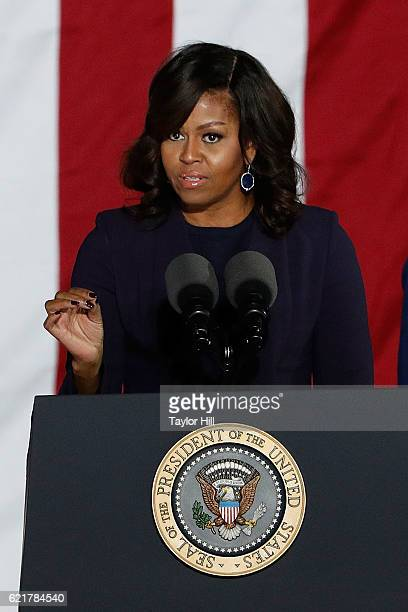 First Lady Michelle Obama speaks during 'The Night Before' rally at Independence Hall on November 7 2016 in Philadelphia Pennsylvania