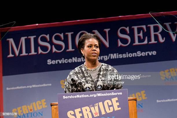 First lady Michelle Obama speaks during the ServiceNation launch of MISSION SERVE Forging A Continuum Of Service at George Washington University on...