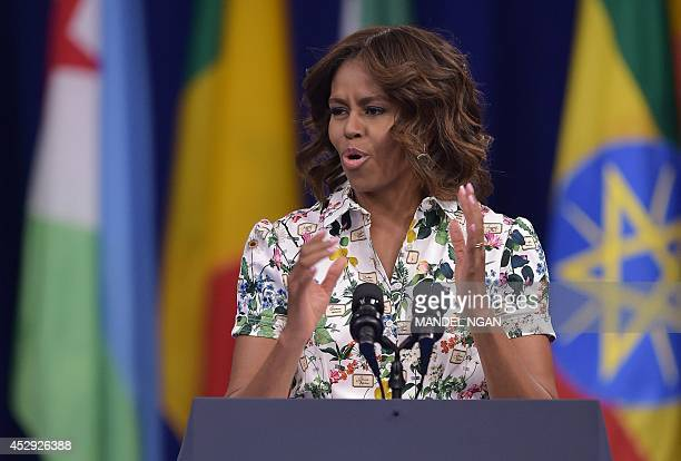 US First Lady Michelle Obama speaks during the Washington Fellowship for Young African Leaders Presidential Summit on July 30 2014 in Washington DC...