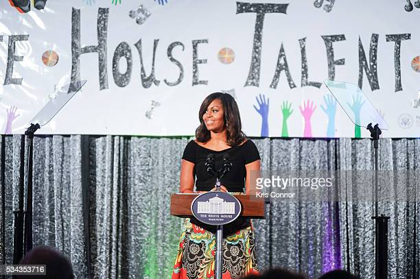 First Lady Michelle Obama speaks during the White House Turnaround Arts Talent Show at the White House May 25 2016 in Washington DC The Turnaround...