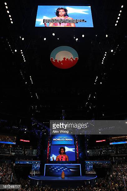First lady Michelle Obama speaks on stage during day one of the Democratic National Convention at Time Warner Cable Arena on September 4, 2012 in...