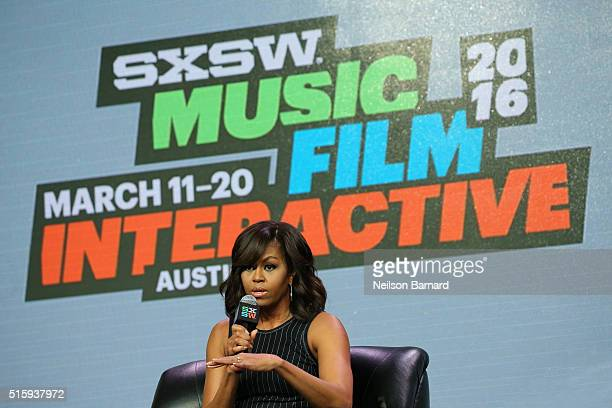 First Lady Michelle Obama speaks on stage during the SXSW Keynote: Michelle Obama during 2016 SXSW Music, Film + Interactive Festival at Austin...