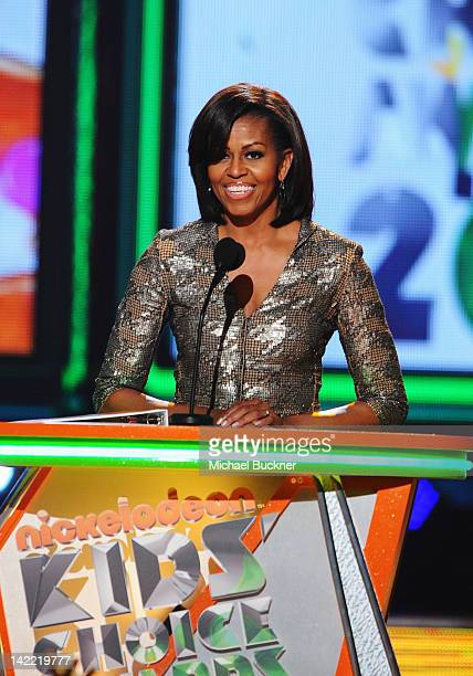 First Lady Michelle Obama speaks onstage at Nickelodeon's 25th Annual Kids' Choice Awards held at Galen Center on March 31 2012 in Los Angeles...