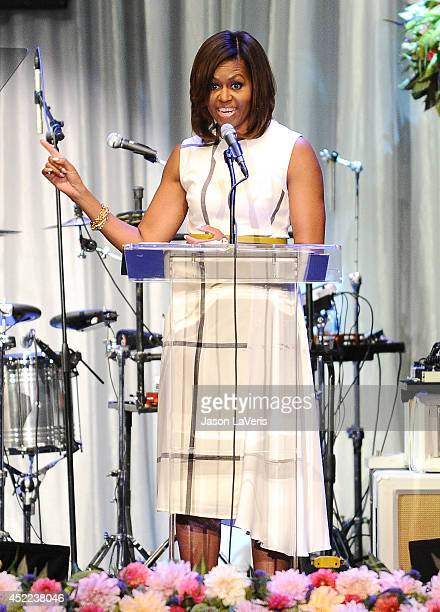 First Lady Michelle Obama speaks onstage at the The Grammy Museum's Jane Ortner Education Award luncheon at The Grammy Museum on July 16 2014 in Los...