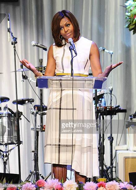 First Lady Michelle Obama speaks onstage at the The Grammy Museum's Jane Ortner Education Award luncheon at The Grammy Museum on July 16, 2014 in Los...
